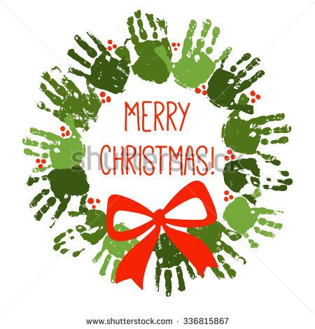 Christmas Handprint Clipart.