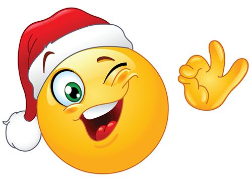 Winking Santa Smiley Christmas Emoticons For FB Emoticon Faces.