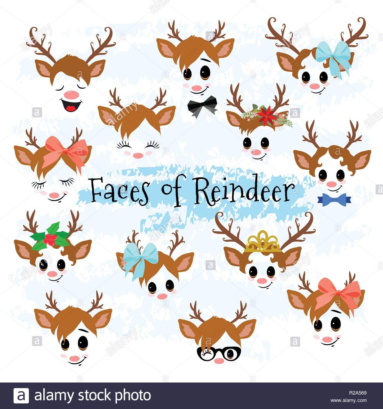 Illustration Christmas Happy Faces Stock Photos & Illustration.