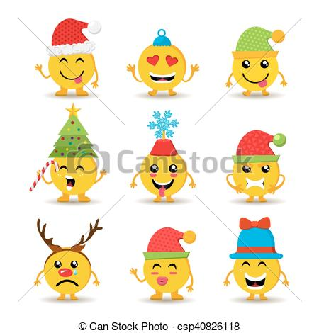 Holiday emoji icon set for christmas and new year.