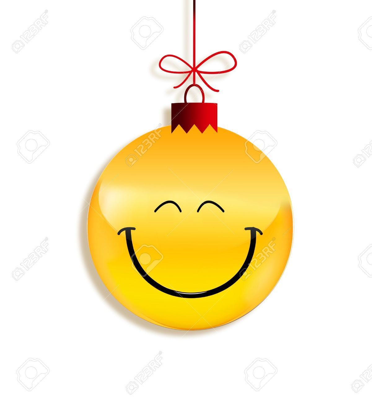 christmas smiley faces: paper emoticon as Christmas ball.