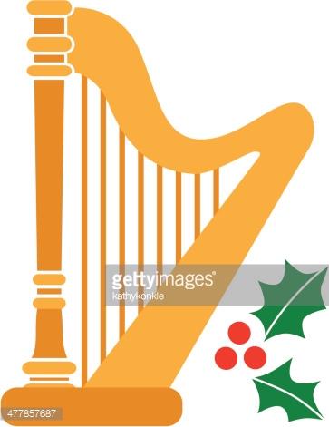 Christmas Harp Vector Art.