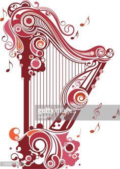 Caption Music Instrument Harp Clipart Headline.