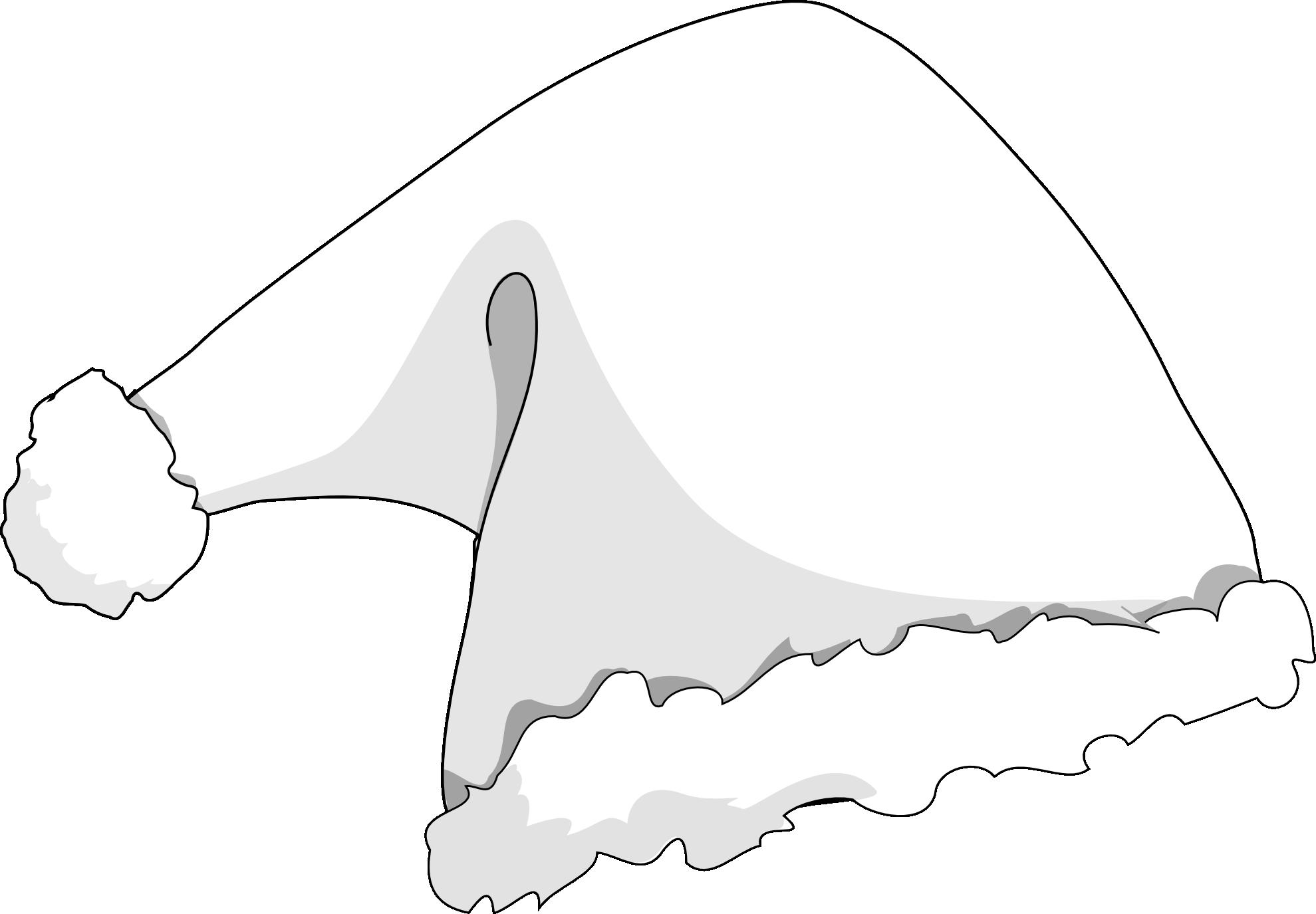 Black and white santa hat clipart.