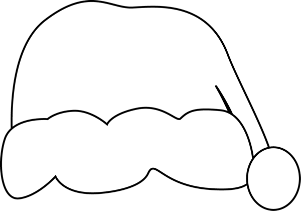 Black and White Santa Hat Clip Art.