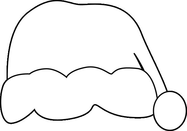 Black and White Santa Hat Clip Art.