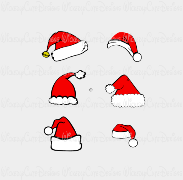 Santa Hat Collection SVG, DXF, EPS, PNG Digital File.