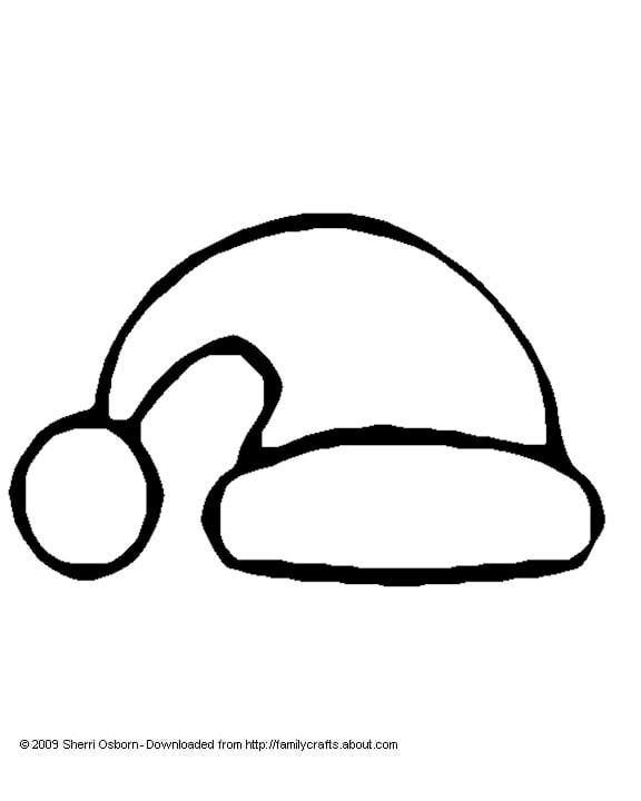Santa Hat Coloring Page and Template.