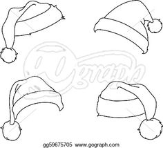 Printable Santa Hat Template from PrintableTreats.com.