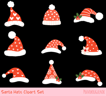 Cute Santa hat clipart, Funny Santa Claus hat clip art hipster winter  Christmas.