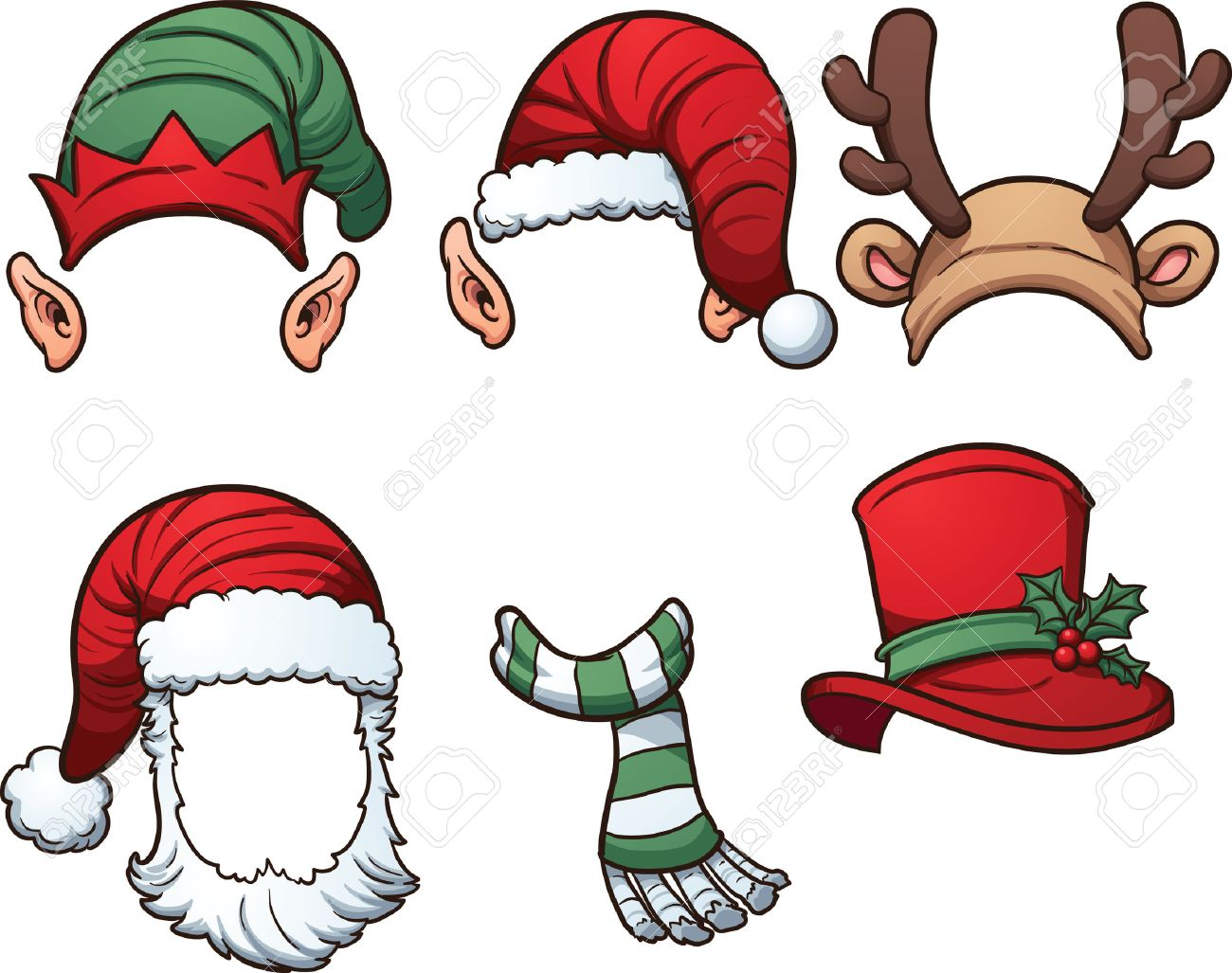 Christmas hats and scarf. Vector clip art illustration with simple...
