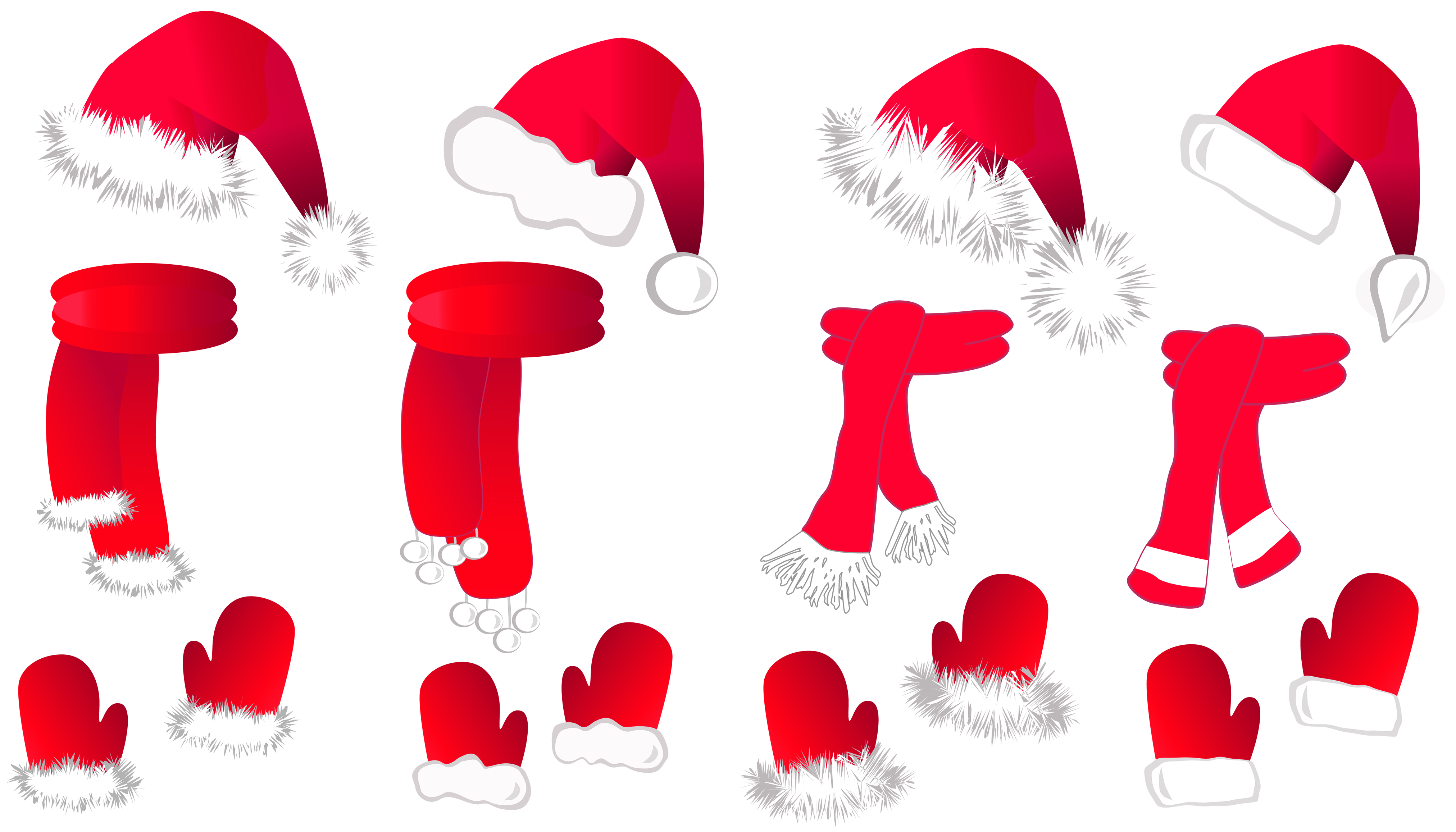 Transparent Christmas Santa Hat and Scarfs Collection PNG Clipart.