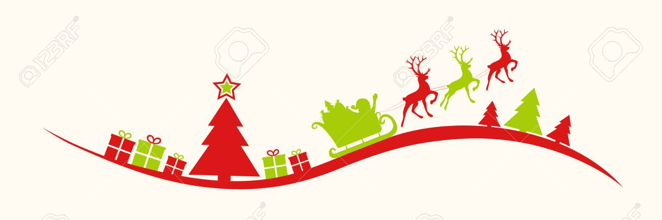 Panoramic header with Christmas decoration. Vector..