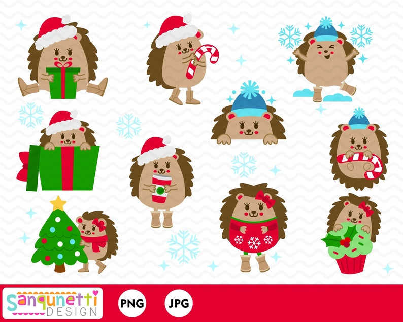 Christmas hedgehog clipart, Christmas character clip art.