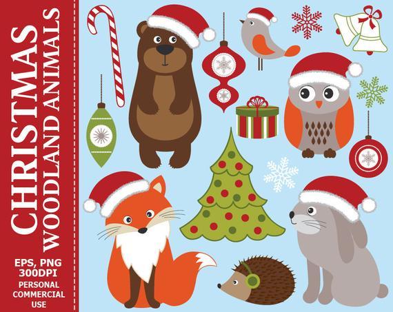 Christmas Woodland Animals Clip Art.