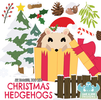 Christmas Hedgehogs Clipart, Instant Download Vector Art, Commercial Use  Clip.