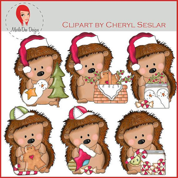 NEW Pepper the Hedgehog Christmas Time Clipart by by marlodeedesigns.
