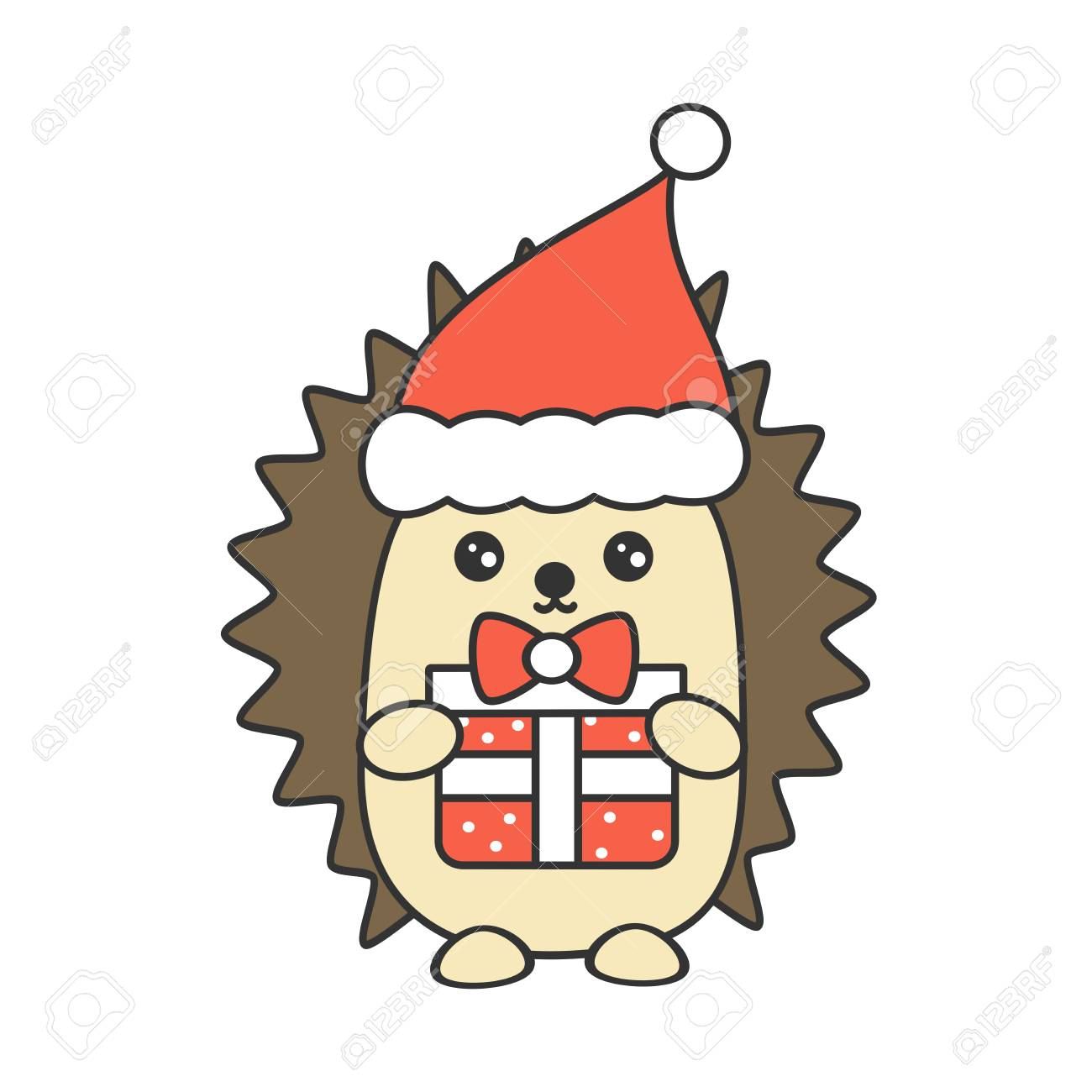 cute cartoon hedgehog with christmas gift box isolated on white...