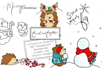 Christmas Clipart and Digital Stamp set.