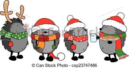 christmas hedgehogs on white.