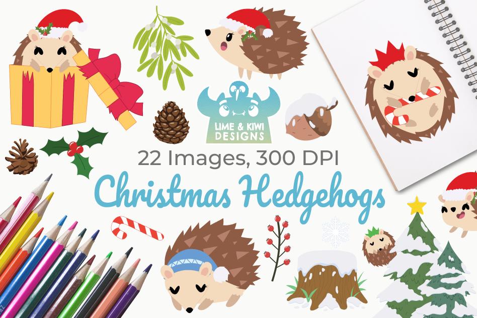 Christmas Hedgehogs Clipart, Instant Download Vector Art.