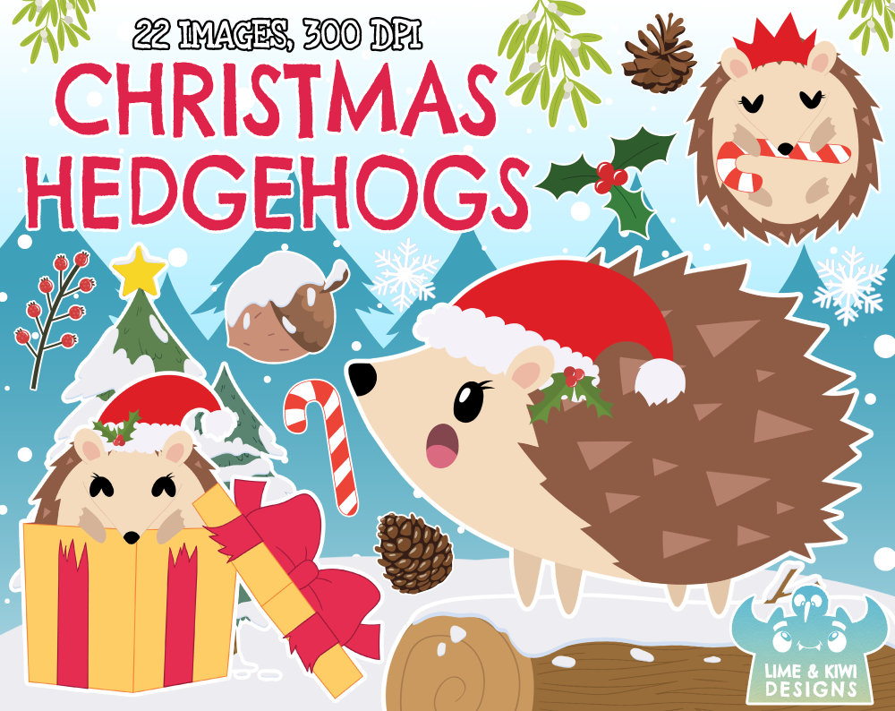 Christmas Hedgehogs Clipart, Instant Download Vector Art, Commercial Use  Clip Art, Festive, Christmas, Xmas, Christmas Animals.