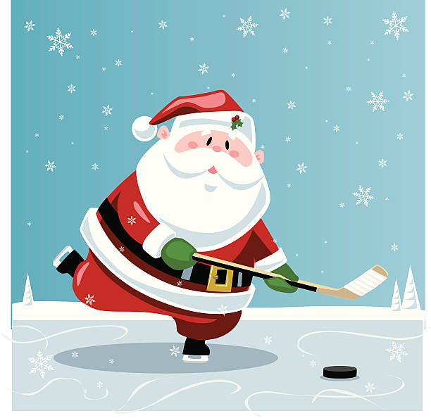 Best Santa Hockey Illustrations, Royalty.