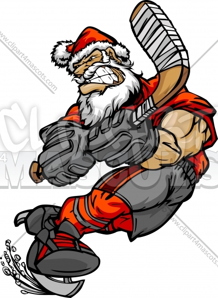 Hockey Santa Clipart Graphic Vector Christmas Clipart Image.