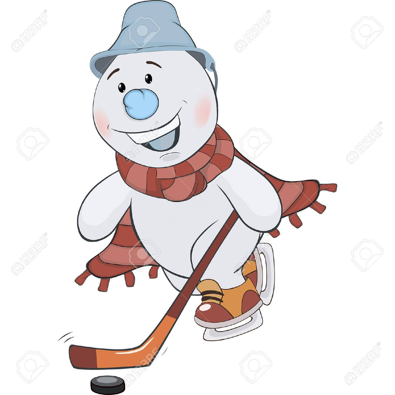 A Christmas snowman hockey player. Cartoon.
