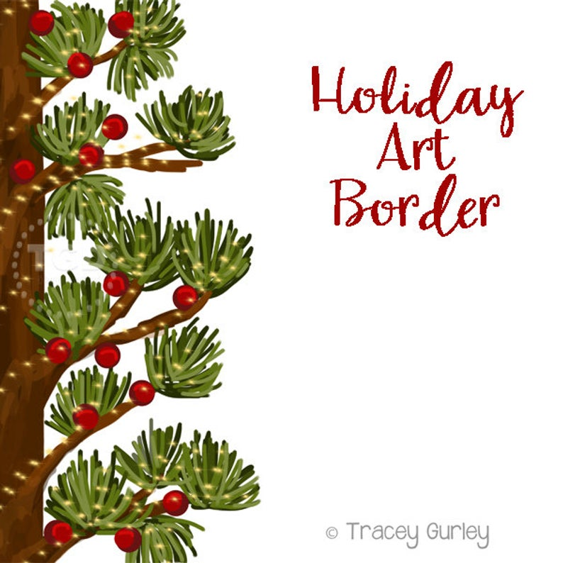 Holiday Art Border, Invitation Art, holiday clip art, pine clip art,  Christmas Clip Art, pine clipart, Christmas clipart, holiday clipart.