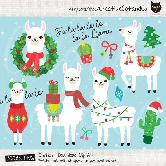 Christmas Holiday Llama Clipart Clip Art Fa La La Llama Alpaca.