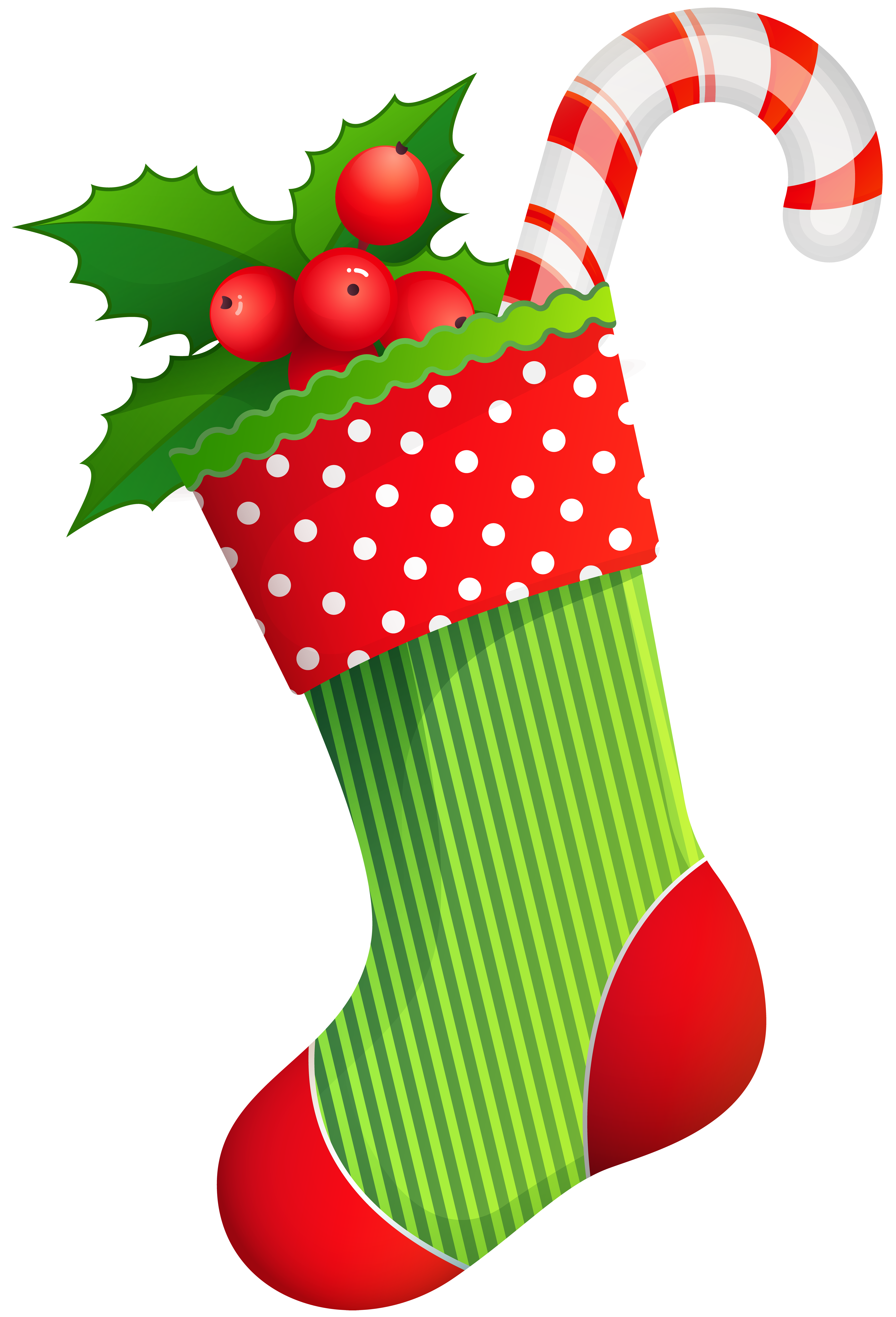 Christmas Holiday Stocking Transparent PNG Clip Art.