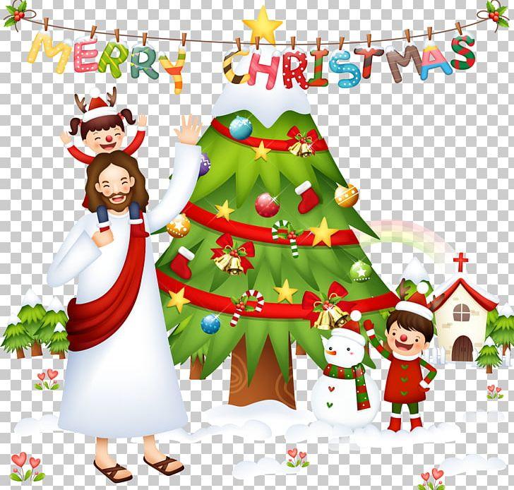 Christmas Tree Santa Claus Nativity Scene Christmas And.