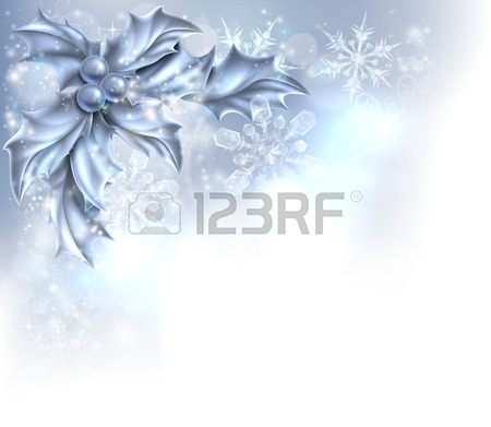 Christmas Holly Silver Abstract Christmas Corner Frame Background.