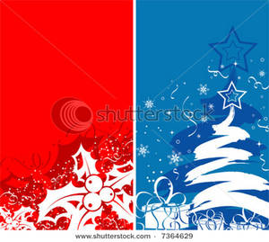 Art Image: Two Abstract Christmas Background with Holly and a.