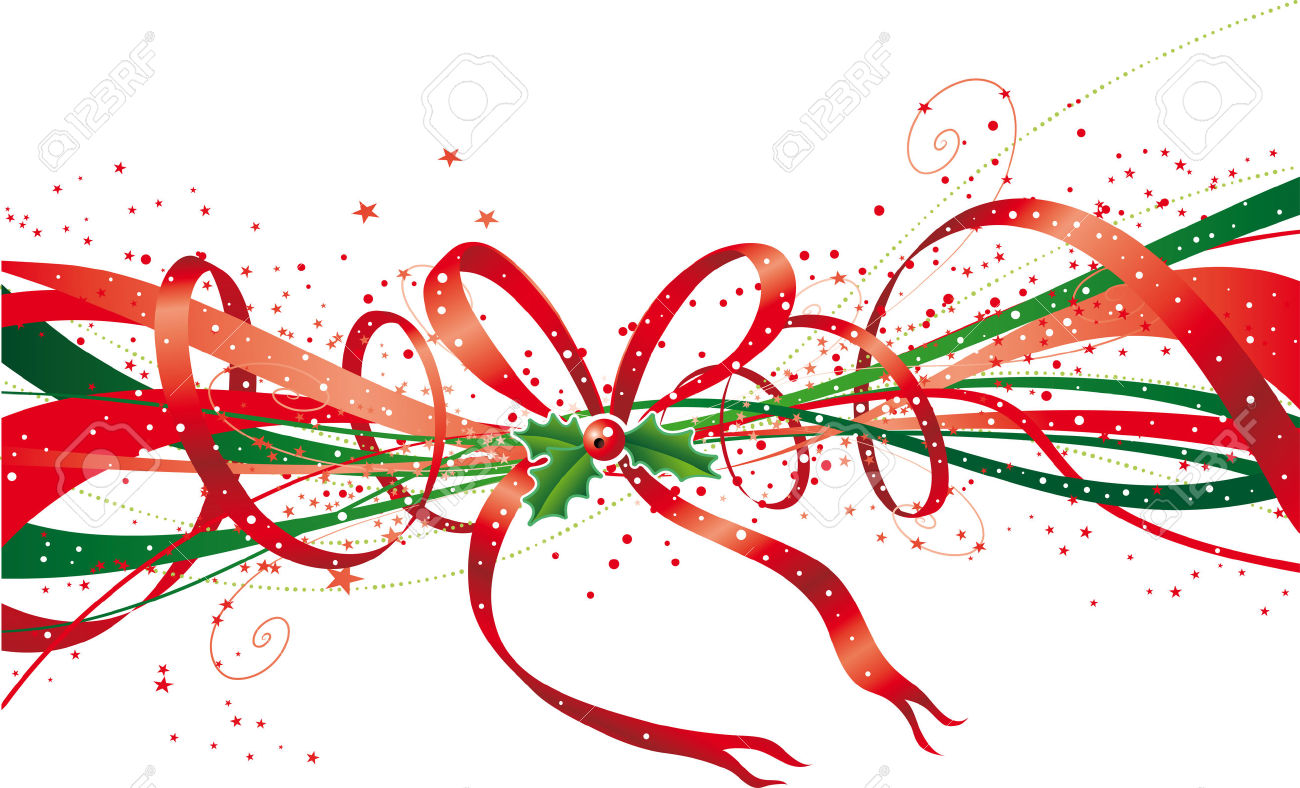 Abstract Christmas Ribbon With Stars, Bow And Holly Royalty Free.