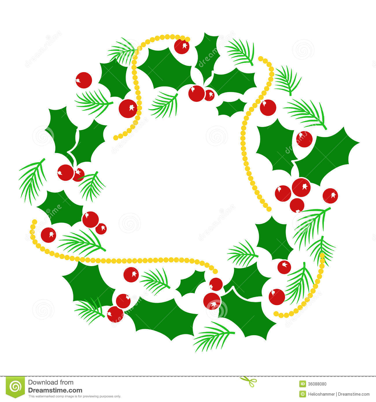 Abstract Christmas Wreath Stock Photo.