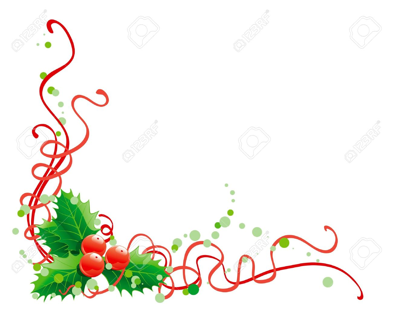 Christmas Holly Decoration. Vector Abstract Christmas Illustration.