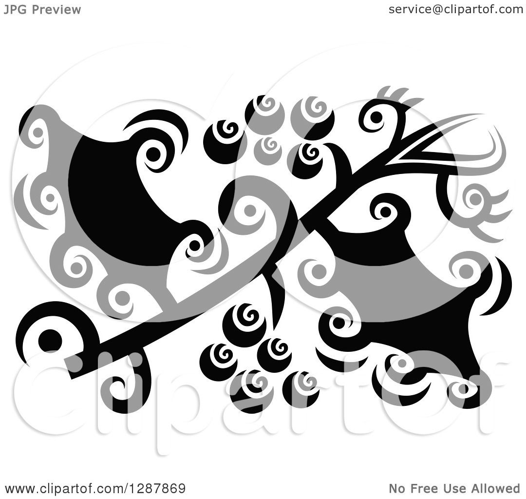 Clipart of a Black and White Abstract Christmas Holly Design.