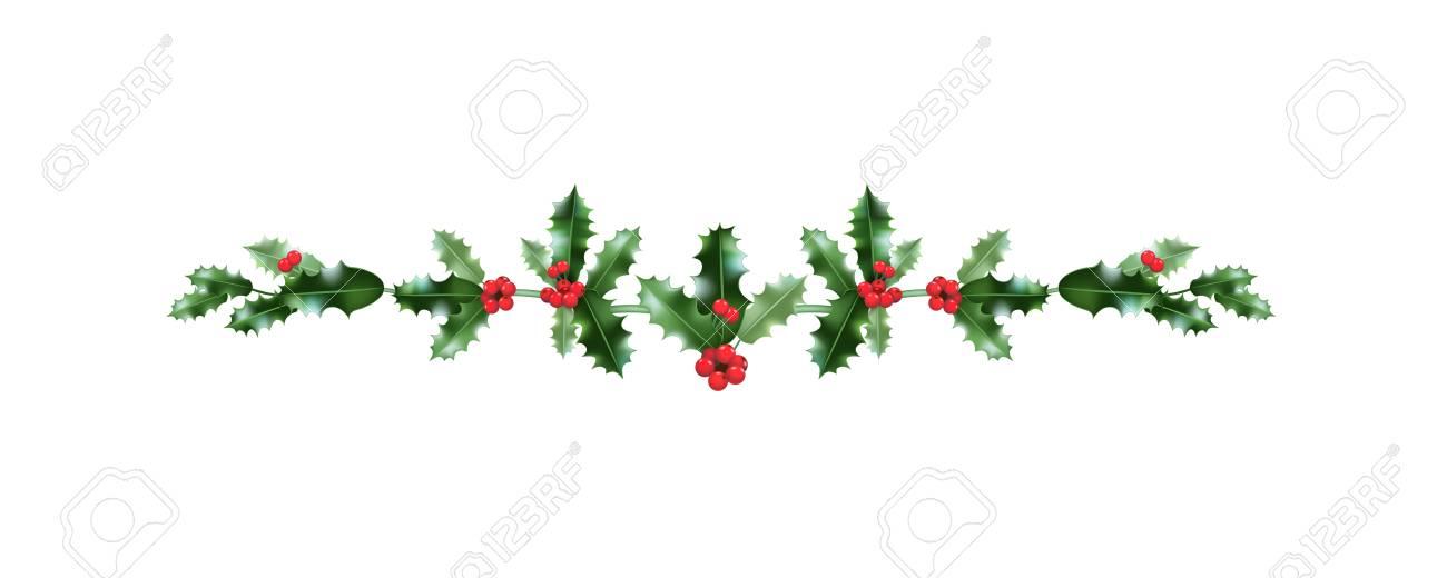 Christmas festive holly decoration. Holiday nature design element...