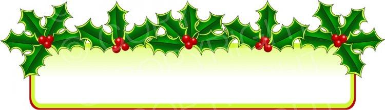 Christmas Holly Banner Page Border Prawny Frame Clip Art.