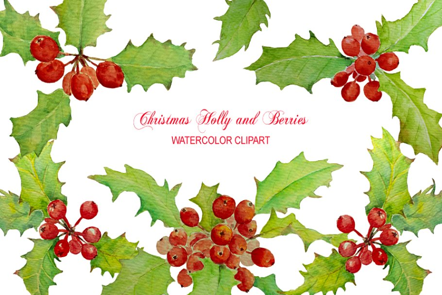 Watercolor Christmas Holly Berry.