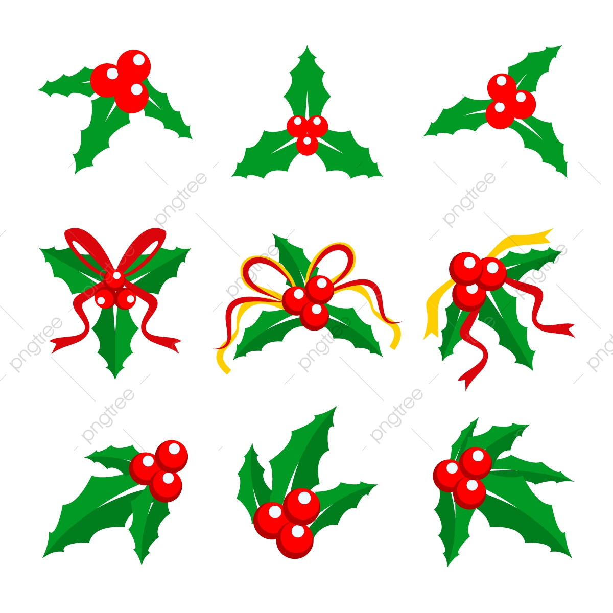 Holly Berry Red Ribbon Vector Illustration, Png, Christmas, Holly.