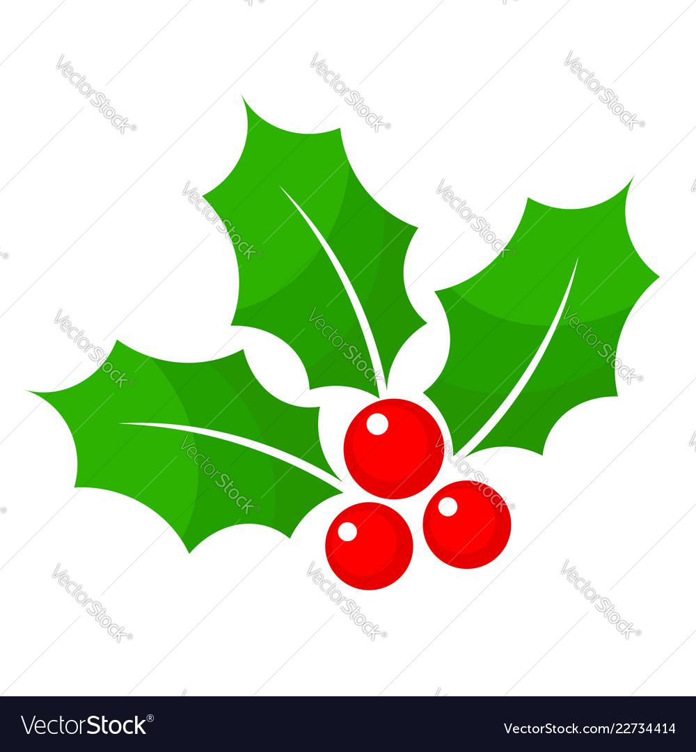 Christmas holly berry flat icon in cartoon style.