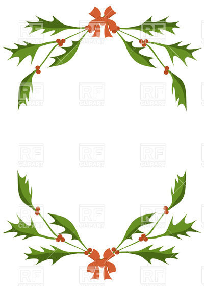 Frame of holly berry branches Stock Vector Image.
