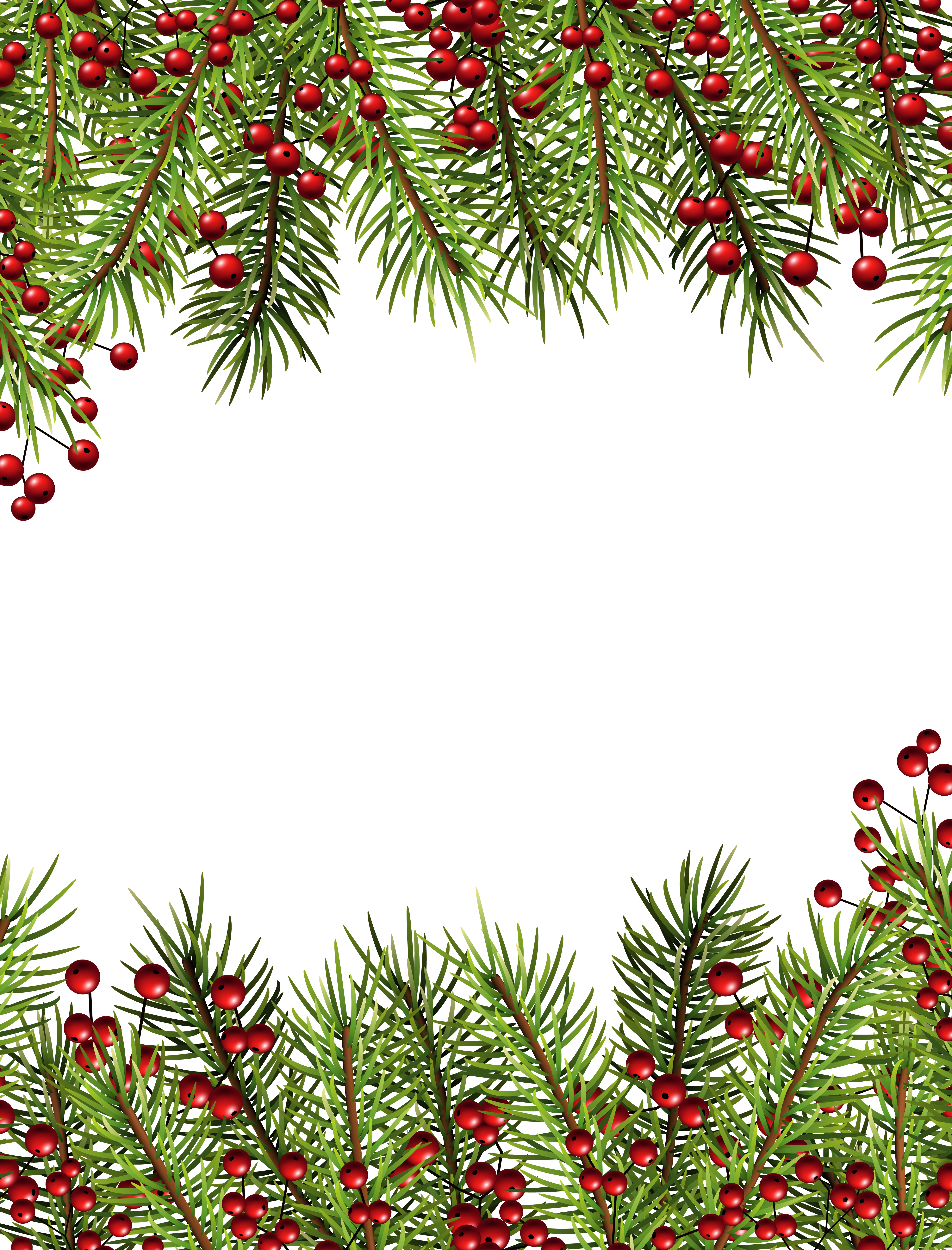 Christmas Holly Transparent Border PNG Frame.