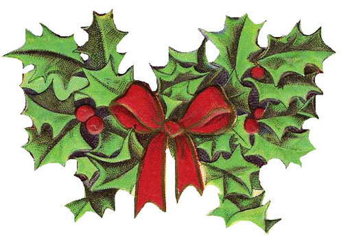 Free Christmas Clipart: Vintage Holly.