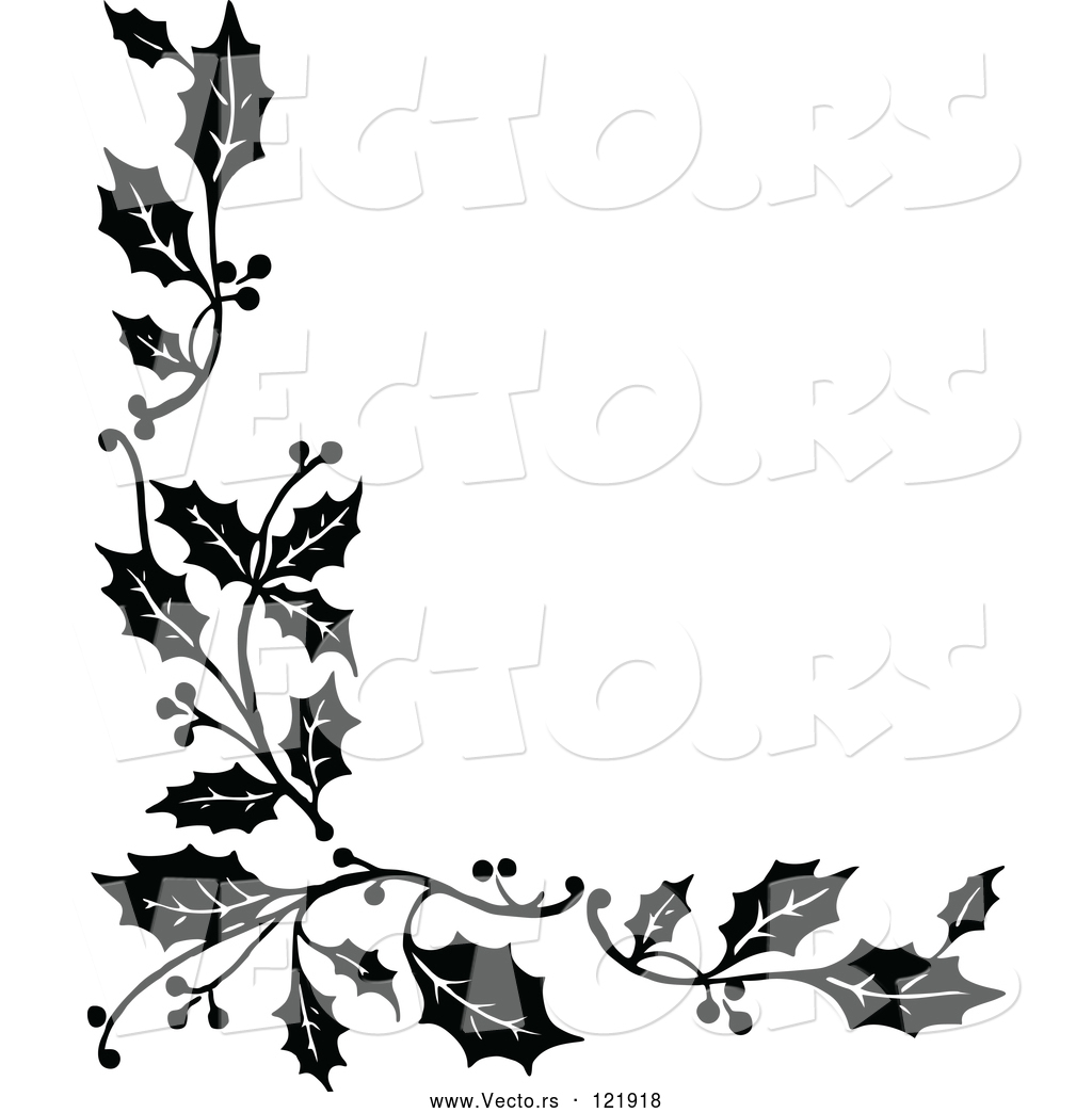 Vector of Vintage Black and White Corner Border of Christmas Holly.