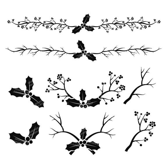 Christmas holly clipart black and white 2 » Clipart Portal.