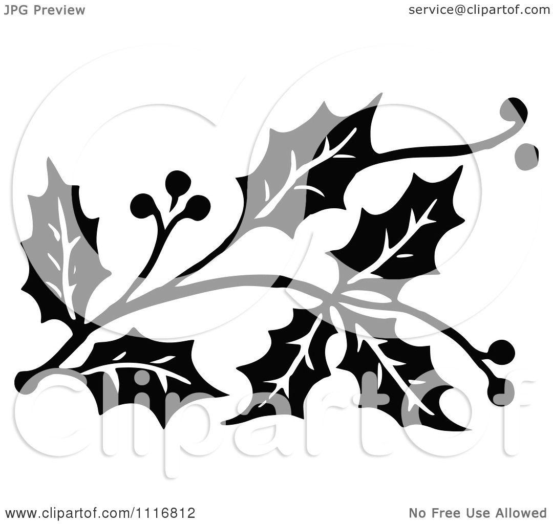 Clipart Retro Vintage Black And White Christmas Holly Sprig Design.
